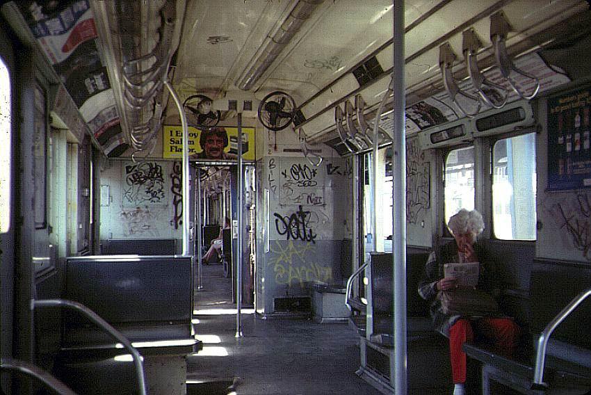 (107k, 850x568)<br><b>Country:</b> United States<br><b>City:</b> New York<br><b>System:</b> New York City Transit<br><b>Line:</b> IND Rockaway<br><b>Location:</b> Rockaway Park/Beach 116th Street <br><b>Car:</b> R-10 (American Car & Foundry, 1948) Interior <br><b>Photo by:</b> Bernard Chatreau<br><b>Date:</b> 9/1978<br><b>Viewed (this week/total):</b> 13 / 6882
