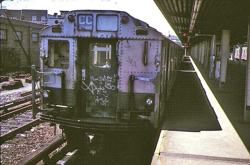 (185k, 850x563)<br><b>Country:</b> United States<br><b>City:</b> New York<br><b>System:</b> New York City Transit<br><b>Line:</b> IND Rockaway<br><b>Location:</b> Rockaway Park/Beach 116th Street <br><b>Route:</b> CC<br><b>Car:</b> R-10 (American Car & Foundry, 1948)  <br><b>Photo by:</b> Bernard Chatreau<br><b>Date:</b> 9/1978<br><b>Viewed (this week/total):</b> 0 / 4401
