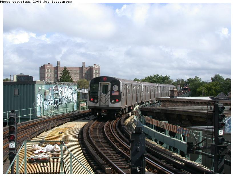 (119k, 820x620)<br><b>Country:</b> United States<br><b>City:</b> New York<br><b>System:</b> New York City Transit<br><b>Line:</b> BMT Myrtle Avenue Line<br><b>Location:</b> Seneca Avenue <br><b>Route:</b> M<br><b>Car:</b> R-143 (Kawasaki, 2001-2002) 8228 <br><b>Photo by:</b> Joe Testagrose<br><b>Date:</b> 9/27/2003<br><b>Viewed (this week/total):</b> 1 / 4567