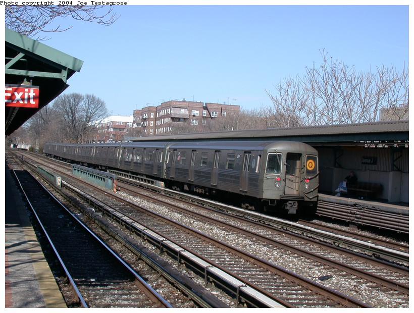 (136k, 820x620)<br><b>Country:</b> United States<br><b>City:</b> New York<br><b>System:</b> New York City Transit<br><b>Line:</b> BMT Brighton Line<br><b>Location:</b> Avenue J <br><b>Route:</b> Q<br><b>Car:</b> R-68 (Westinghouse-Amrail, 1986-1988)  2814 <br><b>Photo by:</b> Joe Testagrose<br><b>Date:</b> 2/28/2004<br><b>Viewed (this week/total):</b> 3 / 3654