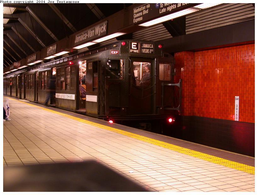 (117k, 820x620)<br><b>Country:</b> United States<br><b>City:</b> New York<br><b>System:</b> New York City Transit<br><b>Line:</b> IND Queens Boulevard Line<br><b>Location:</b> Jamaica/Van Wyck <br><b>Route:</b> Fan Trip<br><b>Car:</b> R-1 (American Car & Foundry, 1930-1931) 100 <br><b>Photo by:</b> Joe Testagrose<br><b>Date:</b> 11/9/2003<br><b>Viewed (this week/total):</b> 2 / 5007