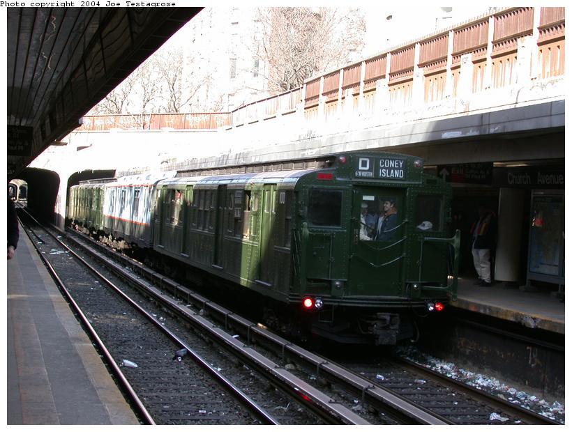(125k, 820x620)<br><b>Country:</b> United States<br><b>City:</b> New York<br><b>System:</b> New York City Transit<br><b>Line:</b> BMT Brighton Line<br><b>Location:</b> Church Avenue <br><b>Route:</b> Fan Trip<br><b>Car:</b> R-1 (American Car & Foundry, 1930-1931) 100 <br><b>Photo by:</b> Joe Testagrose<br><b>Date:</b> 2/28/2004<br><b>Viewed (this week/total):</b> 2 / 4359