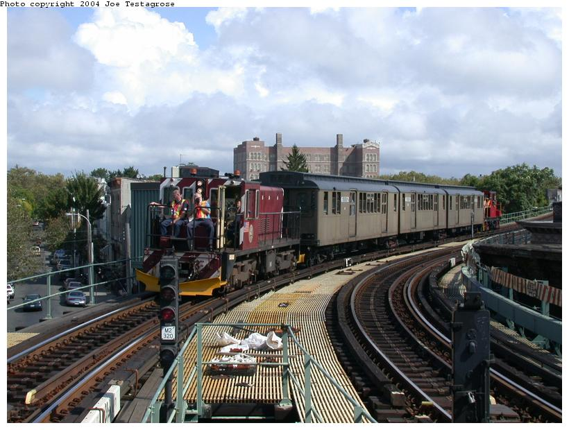 (124k, 820x620)<br><b>Country:</b> United States<br><b>City:</b> New York<br><b>System:</b> New York City Transit<br><b>Line:</b> BMT Myrtle Avenue Line<br><b>Location:</b> Seneca Avenue <br><b>Route:</b> Fan Trip<br><b>Car:</b> R-47 (SBK) Locomotive  N1 <br><b>Photo by:</b> Joe Testagrose<br><b>Date:</b> 9/27/2003<br><b>Viewed (this week/total):</b> 4 / 4587