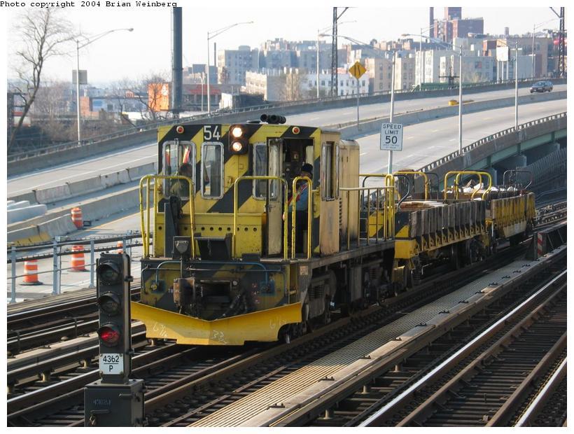 (109k, 820x620)<br><b>Country:</b> United States<br><b>City:</b> New York<br><b>System:</b> New York City Transit<br><b>Line:</b> IRT Pelham Line<br><b>Location:</b> Whitlock Avenue <br><b>Car:</b> R-41 Locomotive  54 <br><b>Photo by:</b> Brian Weinberg<br><b>Date:</b> 4/18/2004<br><b>Viewed (this week/total):</b> 4 / 4018