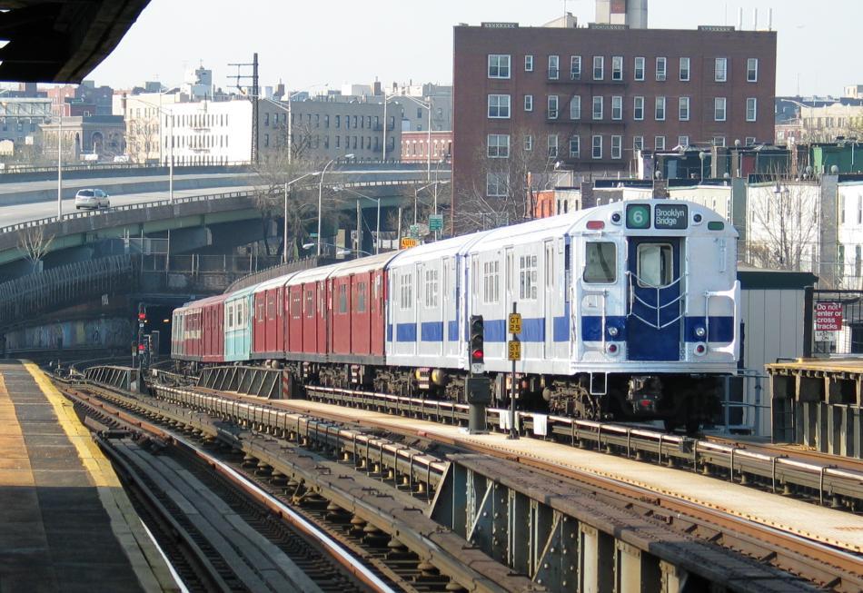 (120k, 950x653)<br><b>Country:</b> United States<br><b>City:</b> New York<br><b>System:</b> New York City Transit<br><b>Line:</b> IRT Pelham Line<br><b>Location:</b> Whitlock Avenue <br><b>Route:</b> Fan Trip<br><b>Car:</b> R-33 Main Line (St. Louis, 1962-63) 9010 <br><b>Photo by:</b> David of Broadway<br><b>Date:</b> 4/18/2004<br><b>Viewed (this week/total):</b> 4 / 4677