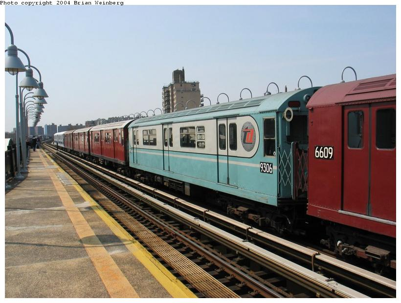 (87k, 820x620)<br><b>Country:</b> United States<br><b>City:</b> New York<br><b>System:</b> New York City Transit<br><b>Line:</b> IRT West Side Line<br><b>Location:</b> 238th Street <br><b>Route:</b> Fan Trip<br><b>Car:</b> R-33 World's Fair (St. Louis, 1963-64) 9306 <br><b>Photo by:</b> Brian Weinberg<br><b>Date:</b> 4/18/2004<br><b>Viewed (this week/total):</b> 1 / 2893