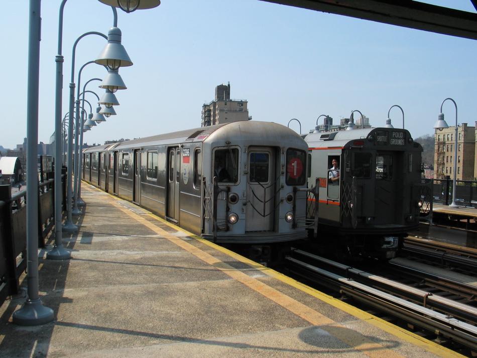 (100k, 950x713)<br><b>Country:</b> United States<br><b>City:</b> New York<br><b>System:</b> New York City Transit<br><b>Line:</b> IRT West Side Line<br><b>Location:</b> 238th Street <br><b>Route:</b> 1<br><b>Car:</b> R-62A (Bombardier, 1984-1987)  2396 <br><b>Photo by:</b> David of Broadway<br><b>Date:</b> 4/18/2004<br><b>Viewed (this week/total):</b> 0 / 3304