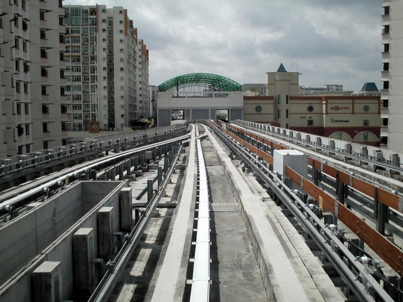(149k, 800x600)<br><b>Country:</b> Singapore<br><b>City:</b> Singapore<br><b>System:</b> Sengkang LRT<br><b>Location:</b> Sengkang<br><b>Photo by:</b> Todd Glickman<br><b>Date:</b> 11/15/2003<br><b>Notes:</b> Sengkang station on the LRT's east loop; this is where the west loop joins in.<br><b>Viewed (this week/total):</b> 1 / 3002