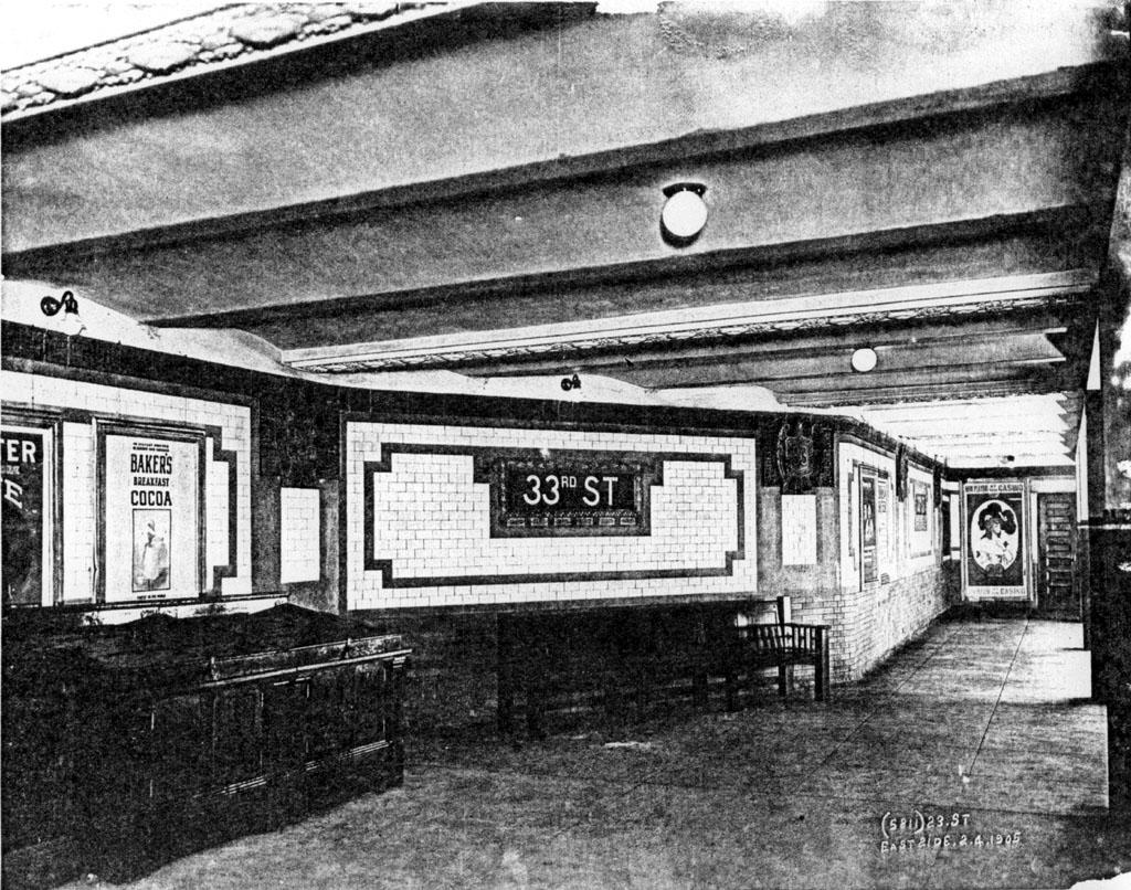 (278k, 1024x806)<br><b>Country:</b> United States<br><b>City:</b> New York<br><b>System:</b> New York City Transit<br><b>Line:</b> IRT East Side Line<br><b>Location:</b> 33rd Street <br><b>Date:</b> 5/4/1905<br><b>Viewed (this week/total):</b> 1 / 5818