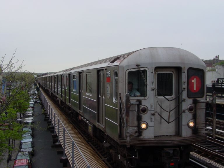 (55k, 768x576)<br><b>Country:</b> United States<br><b>City:</b> New York<br><b>System:</b> New York City Transit<br><b>Line:</b> IRT West Side Line<br><b>Location:</b> 231st Street <br><b>Route:</b> 1<br><b>Car:</b> R-62A (Bombardier, 1984-1987)  2215 <br><b>Photo by:</b> Richard Panse<br><b>Date:</b> 4/25/2004<br><b>Viewed (this week/total):</b> 2 / 3925
