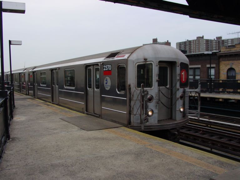 (61k, 768x576)<br><b>Country:</b> United States<br><b>City:</b> New York<br><b>System:</b> New York City Transit<br><b>Line:</b> IRT West Side Line<br><b>Location:</b> 231st Street <br><b>Route:</b> 1<br><b>Car:</b> R-62A (Bombardier, 1984-1987)  2370 <br><b>Photo by:</b> Richard Panse<br><b>Date:</b> 4/25/2004<br><b>Viewed (this week/total):</b> 2 / 4866