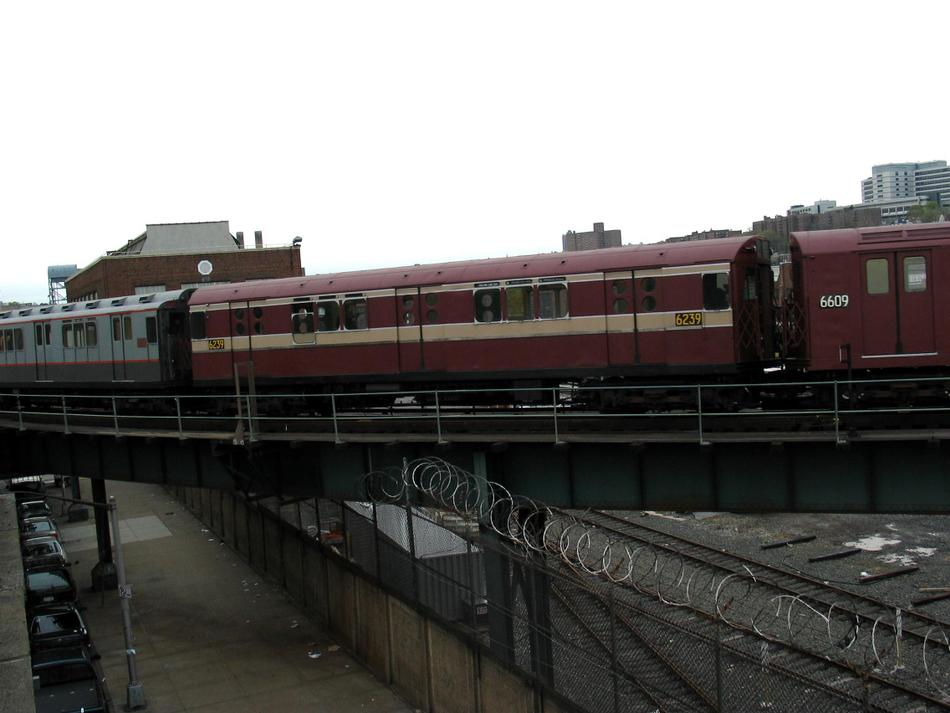 (69k, 950x713)<br><b>Country:</b> United States<br><b>City:</b> New York<br><b>System:</b> New York City Transit<br><b>Location:</b> 207th Street Yard<br><b>Route:</b> Fan Trip<br><b>Car:</b> R-15 (American Car & Foundry, 1950) 6239 <br><b>Photo by:</b> David of Broadway<br><b>Date:</b> 4/25/2004<br><b>Viewed (this week/total):</b> 1 / 2644