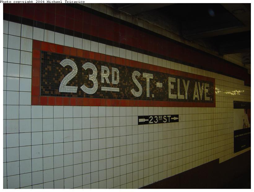 (63k, 820x620)<br><b>Country:</b> United States<br><b>City:</b> New York<br><b>System:</b> New York City Transit<br><b>Line:</b> IND Queens Boulevard Line<br><b>Location:</b> Court Square/23rd St (Ely Avenue) <br><b>Photo by:</b> Michael Tricarico<br><b>Date:</b> 4/9/2004<br><b>Viewed (this week/total):</b> 0 / 2805