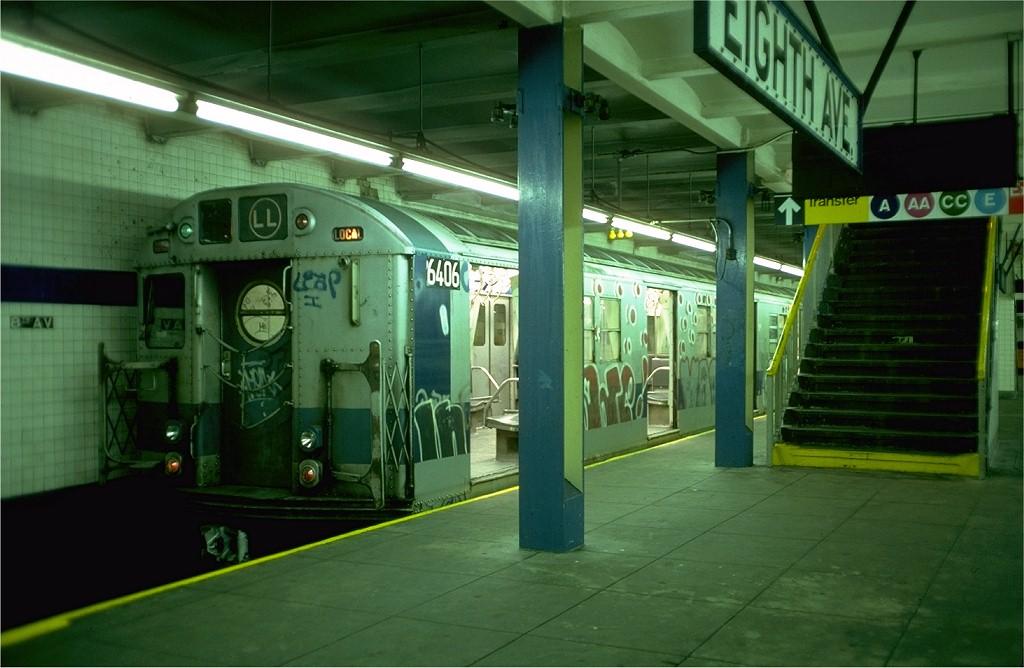 (165k, 1024x668)<br><b>Country:</b> United States<br><b>City:</b> New York<br><b>System:</b> New York City Transit<br><b>Line:</b> BMT Canarsie Line<br><b>Location:</b> 8th Avenue <br><b>Route:</b> LL<br><b>Car:</b> R-16 (American Car & Foundry, 1955) 6406 <br><b>Photo by:</b> Doug Grotjahn<br><b>Collection of:</b> Joe Testagrose<br><b>Date:</b> 10/31/1976<br><b>Viewed (this week/total):</b> 11 / 4139