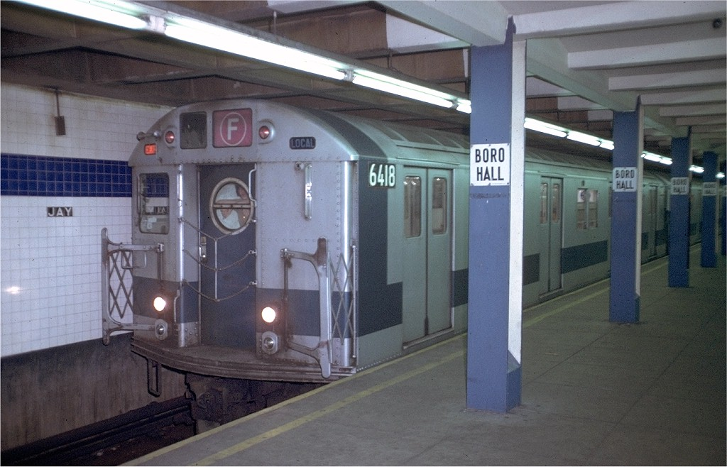 (175k, 1024x658)<br><b>Country:</b> United States<br><b>City:</b> New York<br><b>System:</b> New York City Transit<br><b>Line:</b> IND 8th Avenue Line<br><b>Location:</b> Jay St./Metrotech (Borough Hall) <br><b>Route:</b> F<br><b>Car:</b> R-16 (American Car & Foundry, 1955) 6418 (ex-6400)<br><b>Photo by:</b> Doug Grotjahn<br><b>Collection of:</b> Joe Testagrose<br><b>Date:</b> 7/27/1972<br><b>Viewed (this week/total):</b> 0 / 4922