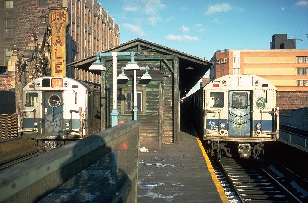 (253k, 1024x673)<br><b>Country:</b> United States<br><b>City:</b> New York<br><b>System:</b> New York City Transit<br><b>Line:</b> BMT Nassau Street/Jamaica Line<br><b>Location:</b> 168th Street (Demolished) <br><b>Route:</b> J<br><b>Car:</b> R-16 (American Car & Foundry, 1955) 6446 <br><b>Photo by:</b> Doug Grotjahn<br><b>Collection of:</b> Joe Testagrose<br><b>Date:</b> 1/1/1977<br><b>Notes:</b> With R30 8324<br><b>Viewed (this week/total):</b> 3 / 15431