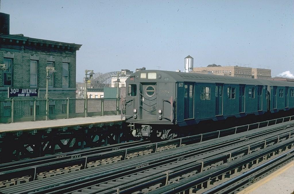 (226k, 1024x674)<br><b>Country:</b> United States<br><b>City:</b> New York<br><b>System:</b> New York City Transit<br><b>Line:</b> BMT Astoria Line<br><b>Location:</b> 30th/Grand Aves. <br><b>Route:</b> RR<br><b>Car:</b> R-16 (American Car & Foundry, 1955) 6477 <br><b>Photo by:</b> Doug Grotjahn<br><b>Collection of:</b> Joe Testagrose<br><b>Date:</b> 2/18/1968<br><b>Viewed (this week/total):</b> 0 / 4273