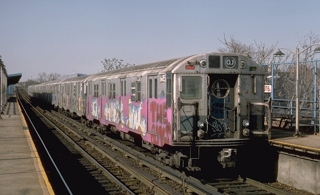 (185k, 1024x624)<br><b>Country:</b> United States<br><b>City:</b> New York<br><b>System:</b> New York City Transit<br><b>Line:</b> BMT Canarsie Line<br><b>Location:</b> New Lots Avenue <br><b>Route:</b> LL<br><b>Car:</b> R-16 (American Car & Foundry, 1955) 6485 <br><b>Photo by:</b> Ed McKernan<br><b>Collection of:</b> Joe Testagrose<br><b>Date:</b> 3/21/1977<br><b>Viewed (this week/total):</b> 0 / 5499