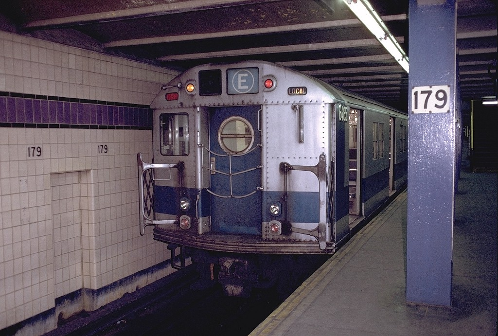 (233k, 1024x691)<br><b>Country:</b> United States<br><b>City:</b> New York<br><b>System:</b> New York City Transit<br><b>Line:</b> IND Queens Boulevard Line<br><b>Location:</b> 179th Street <br><b>Route:</b> E<br><b>Car:</b> R-16 (American Car & Foundry, 1955) 6485 <br><b>Photo by:</b> Doug Grotjahn<br><b>Collection of:</b> Joe Testagrose<br><b>Date:</b> 12/5/1971<br><b>Viewed (this week/total):</b> 2 / 6170