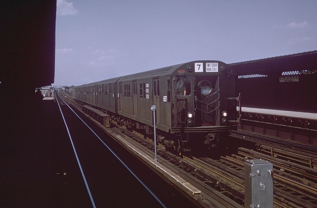 (172k, 1024x672)<br><b>Country:</b> United States<br><b>City:</b> New York<br><b>System:</b> New York City Transit<br><b>Line:</b> BMT Culver Line<br><b>Location:</b> Bay Parkway (22nd Avenue) <br><b>Car:</b> R-17 (St. Louis, 1955-56) 6537 <br><b>Collection of:</b> Joe Testagrose<br><b>Date:</b> 1963<br><b>Notes:</b> Equipment move or Fan Trip from Coney Island<br><b>Viewed (this week/total):</b> 0 / 3904