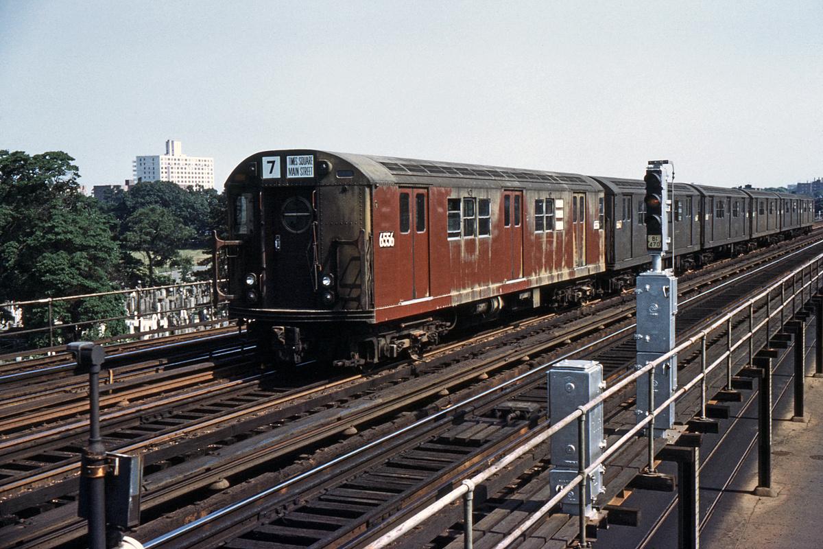 (463k, 1044x710)<br><b>Country:</b> United States<br><b>City:</b> New York<br><b>System:</b> New York City Transit<br><b>Line:</b> BMT Culver Line<br><b>Location:</b> Bay Parkway (22nd Avenue) <br><b>Route:</b> Special<br><b>Car:</b> R-17 (St. Louis, 1955-56) 6556 <br><b>Collection of:</b> David Pirmann<br><b>Date:</b> 6/28/1964<br><b>Viewed (this week/total):</b> 2 / 4138