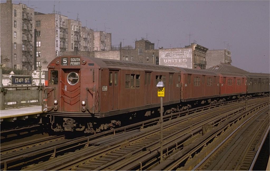 (202k, 1024x649)<br><b>Country:</b> United States<br><b>City:</b> New York<br><b>System:</b> New York City Transit<br><b>Line:</b> IRT White Plains Road Line<br><b>Location:</b> 174th Street <br><b>Route:</b> 5<br><b>Car:</b> R-17 (St. Louis, 1955-56) 6568 <br><b>Photo by:</b> Joe Testagrose<br><b>Date:</b> 10/26/1969<br><b>Viewed (this week/total):</b> 0 / 3284