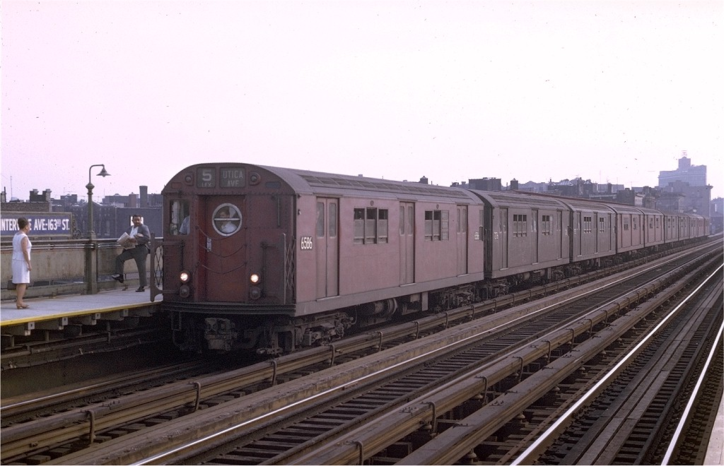 (166k, 1024x660)<br><b>Country:</b> United States<br><b>City:</b> New York<br><b>System:</b> New York City Transit<br><b>Line:</b> IRT White Plains Road Line<br><b>Location:</b> Intervale Avenue <br><b>Route:</b> 5<br><b>Car:</b> R-17 (St. Louis, 1955-56) 6586 <br><b>Photo by:</b> Joe Testagrose<br><b>Date:</b> 8/19/1969<br><b>Viewed (this week/total):</b> 0 / 3015