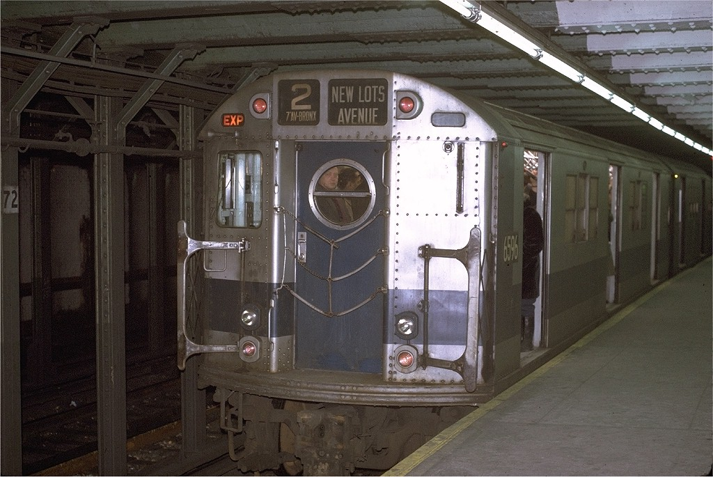(210k, 1024x685)<br><b>Country:</b> United States<br><b>City:</b> New York<br><b>System:</b> New York City Transit<br><b>Line:</b> IRT West Side Line<br><b>Location:</b> 72nd Street <br><b>Route:</b> 2<br><b>Car:</b> R-17 (St. Louis, 1955-56) 6596 <br><b>Photo by:</b> Joe Testagrose<br><b>Date:</b> 1/2/1971<br><b>Viewed (this week/total):</b> 2 / 3152