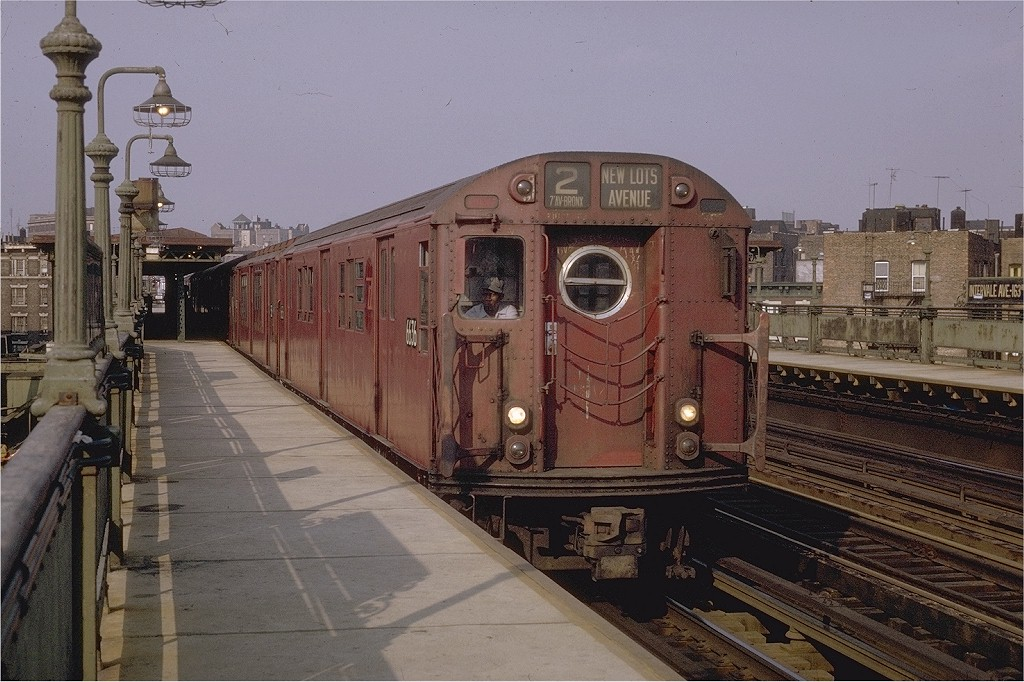 (210k, 1024x682)<br><b>Country:</b> United States<br><b>City:</b> New York<br><b>System:</b> New York City Transit<br><b>Line:</b> IRT White Plains Road Line<br><b>Location:</b> Intervale Avenue <br><b>Route:</b> 2<br><b>Car:</b> R-17 (St. Louis, 1955-56) 6636 <br><b>Photo by:</b> Joe Testagrose<br><b>Date:</b> 5/9/1970<br><b>Viewed (this week/total):</b> 2 / 3409