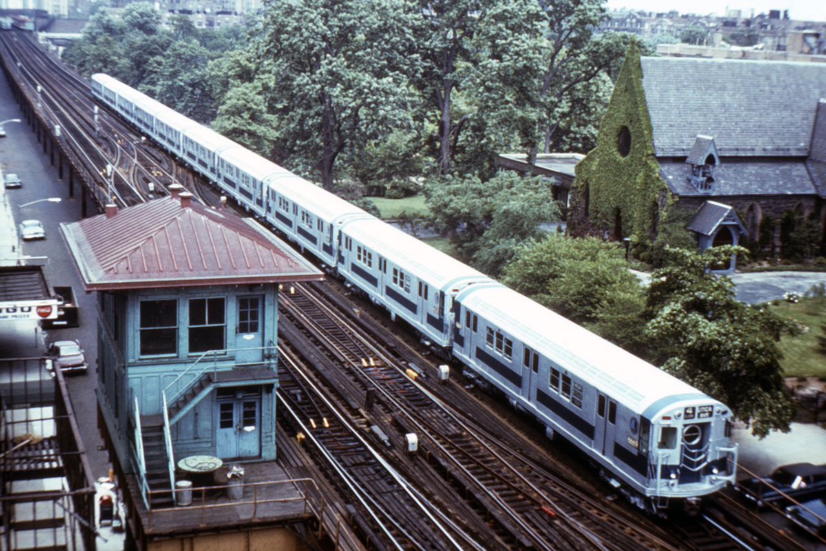 (527k, 1024x683)<br><b>Country:</b> United States<br><b>City:</b> New York<br><b>System:</b> New York City Transit<br><b>Line:</b> IRT Woodlawn Line<br><b>Location:</b> Fordham Road <br><b>Route:</b> 4<br><b>Car:</b> R-17 (St. Louis, 1955-56) 6669 <br><b>Photo by:</b> Steve Zabel<br><b>Collection of:</b> David Pirmann<br><b>Notes:</b> St. James Episcopal at Jerome & 190th just north of Fordham Rd. View looking north.<br><b>Viewed (this week/total):</b> 0 / 5786