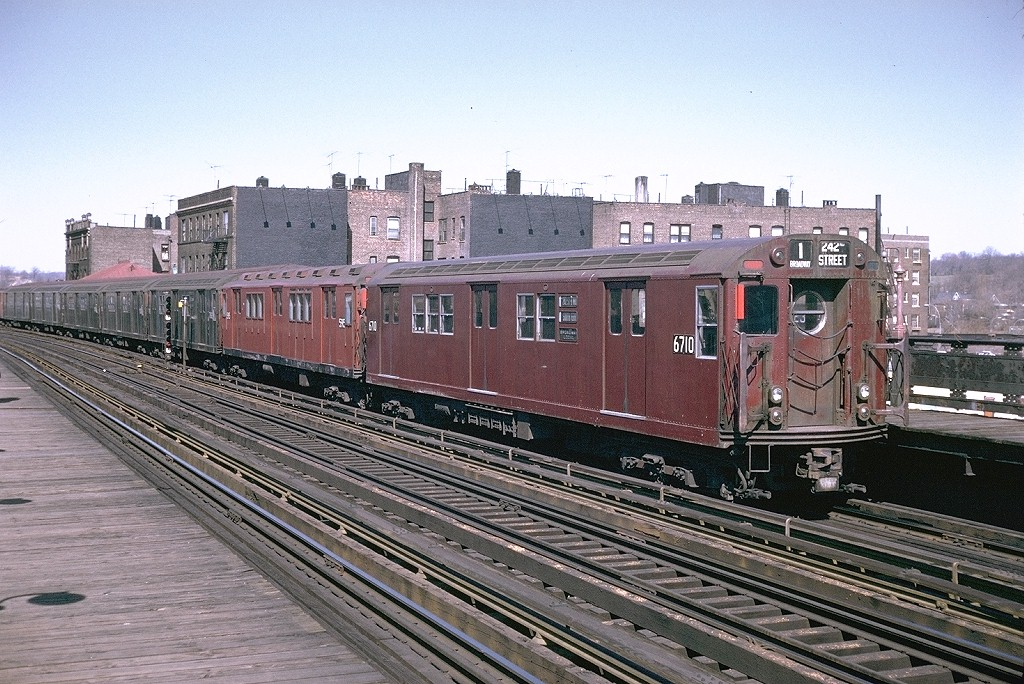 (253k, 1024x684)<br><b>Country:</b> United States<br><b>City:</b> New York<br><b>System:</b> New York City Transit<br><b>Line:</b> IRT West Side Line<br><b>Location:</b> 238th Street <br><b>Route:</b> 1<br><b>Car:</b> R-17 (St. Louis, 1955-56) 6710 <br><b>Photo by:</b> Doug Grotjahn<br><b>Collection of:</b> Joe Testagrose<br><b>Date:</b> 4/12/1970<br><b>Viewed (this week/total):</b> 0 / 3139