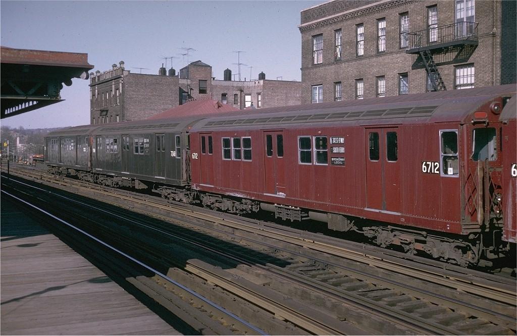 (216k, 1024x666)<br><b>Country:</b> United States<br><b>City:</b> New York<br><b>System:</b> New York City Transit<br><b>Line:</b> IRT West Side Line<br><b>Location:</b> 238th Street <br><b>Route:</b> 1<br><b>Car:</b> R-17 (St. Louis, 1955-56) 6712 <br><b>Collection of:</b> Joe Testagrose<br><b>Date:</b> 4/11/1970<br><b>Viewed (this week/total):</b> 1 / 3083