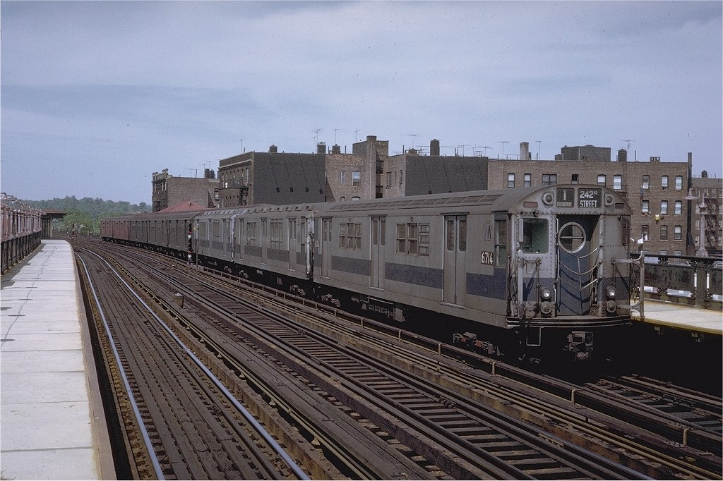 (228k, 1024x682)<br><b>Country:</b> United States<br><b>City:</b> New York<br><b>System:</b> New York City Transit<br><b>Line:</b> IRT West Side Line<br><b>Location:</b> 238th Street <br><b>Route:</b> 1<br><b>Car:</b> R-17 (St. Louis, 1955-56) 6714 <br><b>Photo by:</b> Joe Testagrose<br><b>Date:</b> 5/30/1971<br><b>Viewed (this week/total):</b> 0 / 2799