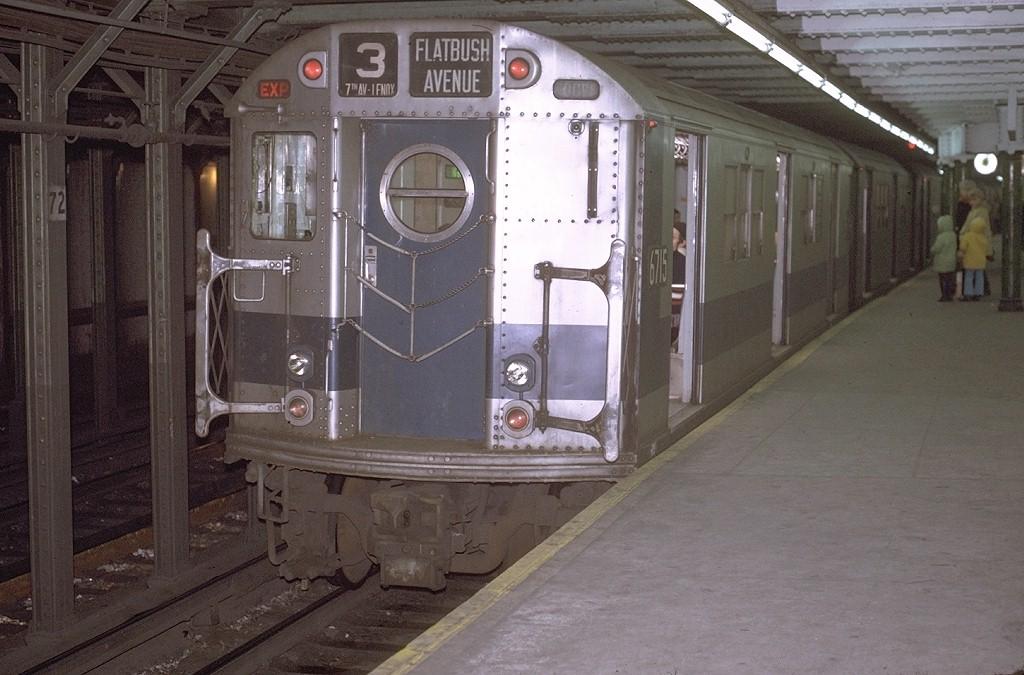 (185k, 1024x675)<br><b>Country:</b> United States<br><b>City:</b> New York<br><b>System:</b> New York City Transit<br><b>Line:</b> IRT West Side Line<br><b>Location:</b> 72nd Street <br><b>Route:</b> 3<br><b>Car:</b> R-17 (St. Louis, 1955-56) 6715 <br><b>Photo by:</b> Joe Testagrose<br><b>Date:</b> 1/2/1971<br><b>Viewed (this week/total):</b> 4 / 2958