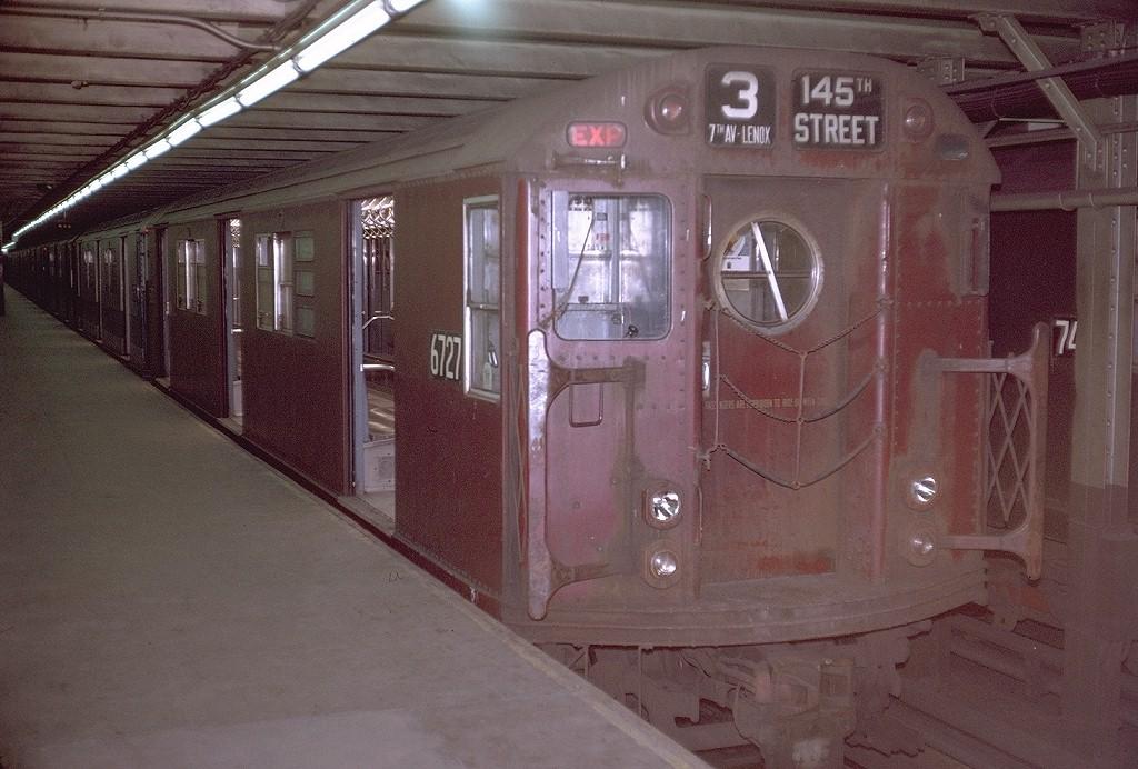 (202k, 1024x692)<br><b>Country:</b> United States<br><b>City:</b> New York<br><b>System:</b> New York City Transit<br><b>Line:</b> IRT Brooklyn Line<br><b>Location:</b> Flatbush Avenue <br><b>Route:</b> 3<br><b>Car:</b> R-17 (St. Louis, 1955-56) 6727 <br><b>Photo by:</b> Doug Grotjahn<br><b>Collection of:</b> Joe Testagrose<br><b>Date:</b> 6/28/1970<br><b>Viewed (this week/total):</b> 3 / 3971