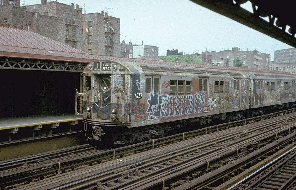 (213k, 1024x657)<br><b>Country:</b> United States<br><b>City:</b> New York<br><b>System:</b> New York City Transit<br><b>Line:</b> IRT West Side Line<br><b>Location:</b> 238th Street <br><b>Route:</b> 1<br><b>Car:</b> R-17 (St. Louis, 1955-56) 6737 <br><b>Photo by:</b> Steve Zabel<br><b>Collection of:</b> Joe Testagrose<br><b>Date:</b> 8/10/1973<br><b>Viewed (this week/total):</b> 3 / 4927