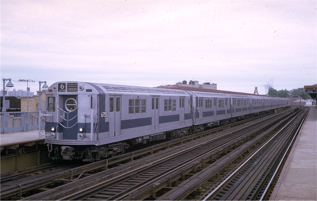 (168k, 1024x651)<br><b>Country:</b> United States<br><b>City:</b> New York<br><b>System:</b> New York City Transit<br><b>Line:</b> IRT Pelham Line<br><b>Location:</b> Buhre Avenue <br><b>Route:</b> 6<br><b>Car:</b> R-17 (St. Louis, 1955-56) 6755 <br><b>Photo by:</b> Steve Zabel<br><b>Collection of:</b> Joe Testagrose<br><b>Date:</b> 5/24/1970<br><b>Viewed (this week/total):</b> 2 / 3696