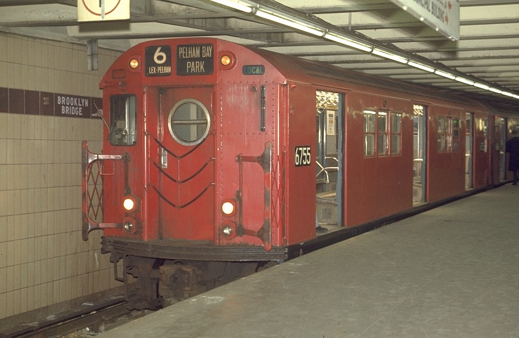 (164k, 1024x667)<br><b>Country:</b> United States<br><b>City:</b> New York<br><b>System:</b> New York City Transit<br><b>Line:</b> IRT East Side Line<br><b>Location:</b> Brooklyn Bridge/City Hall <br><b>Route:</b> 6<br><b>Car:</b> R-17 (St. Louis, 1955-56) 6755 <br><b>Photo by:</b> Joe Testagrose<br><b>Date:</b> 4/2/1970<br><b>Viewed (this week/total):</b> 2 / 3416
