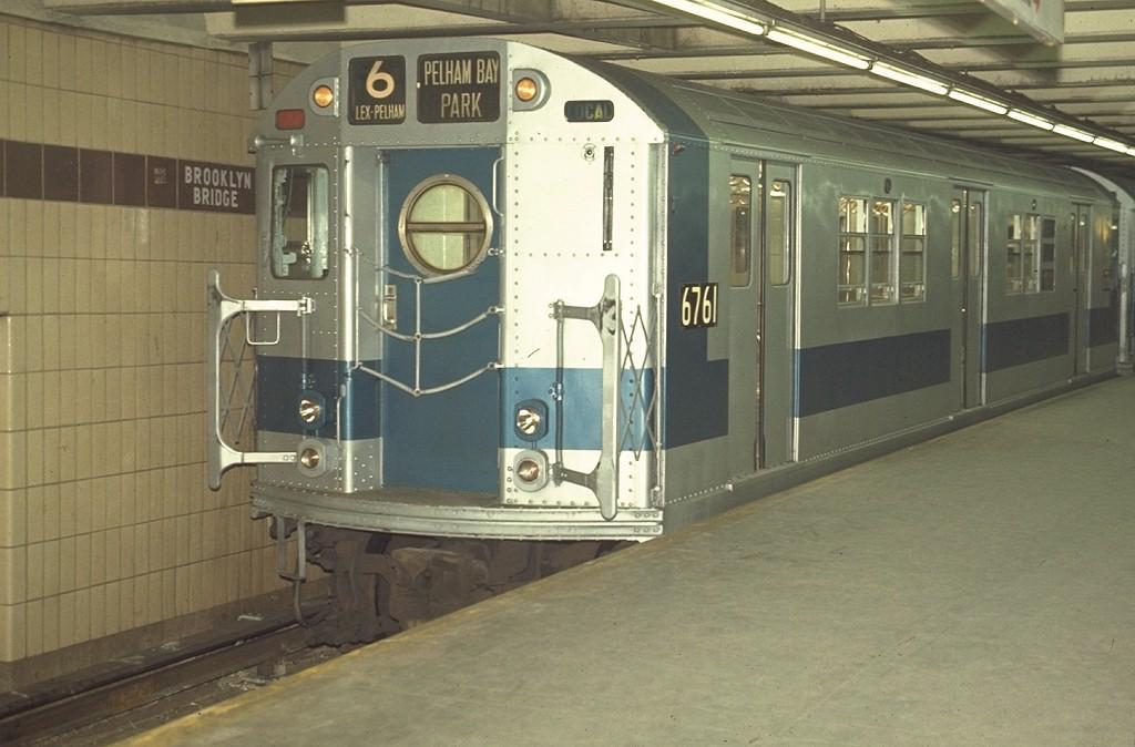 (164k, 1024x674)<br><b>Country:</b> United States<br><b>City:</b> New York<br><b>System:</b> New York City Transit<br><b>Line:</b> IRT East Side Line<br><b>Location:</b> Brooklyn Bridge/City Hall <br><b>Route:</b> 6<br><b>Car:</b> R-17 (St. Louis, 1955-56) 6761 <br><b>Photo by:</b> Joe Testagrose<br><b>Date:</b> 4/15/1970<br><b>Viewed (this week/total):</b> 0 / 5766