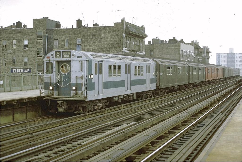 (239k, 1024x687)<br><b>Country:</b> United States<br><b>City:</b> New York<br><b>System:</b> New York City Transit<br><b>Line:</b> IRT Pelham Line<br><b>Location:</b> Elder Avenue <br><b>Route:</b> 6<br><b>Car:</b> R-17 (St. Louis, 1955-56) 6766 <br><b>Photo by:</b> Joe Testagrose<br><b>Date:</b> 9/20/1971<br><b>Viewed (this week/total):</b> 0 / 3132