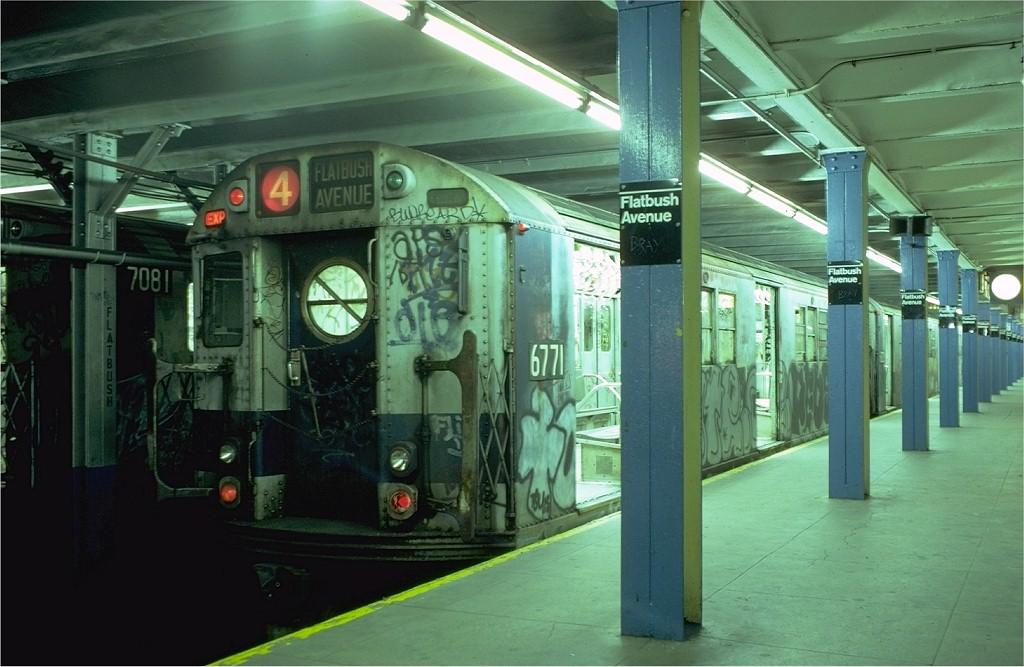 (176k, 1024x667)<br><b>Country:</b> United States<br><b>City:</b> New York<br><b>System:</b> New York City Transit<br><b>Line:</b> IRT Brooklyn Line<br><b>Location:</b> Flatbush Avenue <br><b>Route:</b> 4<br><b>Car:</b> R-17 (St. Louis, 1955-56) 6771 <br><b>Collection of:</b> Joe Testagrose<br><b>Date:</b> 10/12/1979<br><b>Viewed (this week/total):</b> 3 / 8441