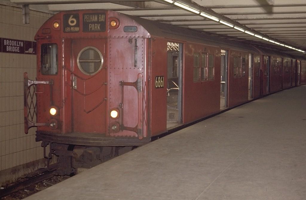 (140k, 1024x669)<br><b>Country:</b> United States<br><b>City:</b> New York<br><b>System:</b> New York City Transit<br><b>Line:</b> IRT East Side Line<br><b>Location:</b> Brooklyn Bridge/City Hall <br><b>Route:</b> 6<br><b>Car:</b> R-17 (St. Louis, 1955-56) 6861 <br><b>Photo by:</b> Joe Testagrose<br><b>Viewed (this week/total):</b> 0 / 3340