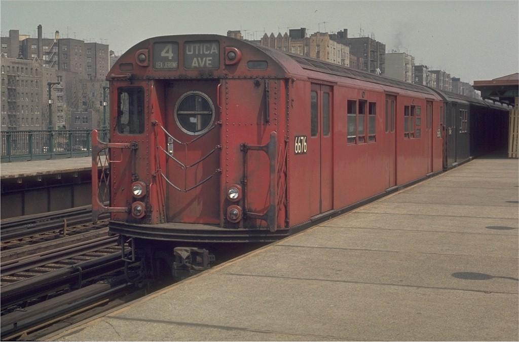 (169k, 1024x674)<br><b>Country:</b> United States<br><b>City:</b> New York<br><b>System:</b> New York City Transit<br><b>Line:</b> IRT Woodlawn Line<br><b>Location:</b> Mt. Eden Avenue <br><b>Route:</b> 4<br><b>Car:</b> R-17 (St. Louis, 1955-56) 6676 <br><b>Photo by:</b> Joe Testagrose<br><b>Date:</b> 5/9/1970<br><b>Viewed (this week/total):</b> 2 / 2697