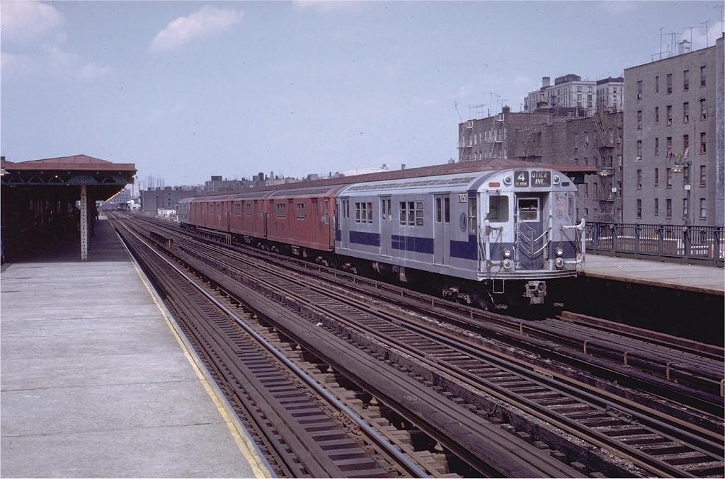 (213k, 1024x677)<br><b>Country:</b> United States<br><b>City:</b> New York<br><b>System:</b> New York City Transit<br><b>Line:</b> IRT Woodlawn Line<br><b>Location:</b> Mt. Eden Avenue <br><b>Route:</b> 4<br><b>Car:</b> R-21 (St. Louis, 1956-57) 7050 <br><b>Collection of:</b> Joe Testagrose<br><b>Date:</b> 7/23/1972<br><b>Viewed (this week/total):</b> 0 / 4272