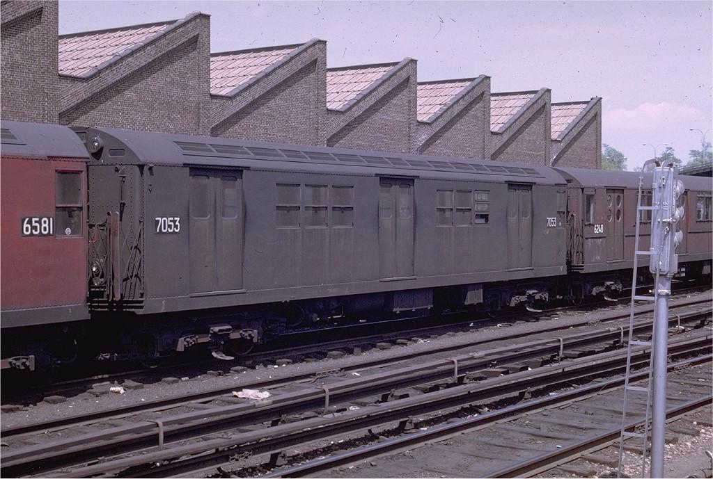 (221k, 1024x689)<br><b>Country:</b> United States<br><b>City:</b> New York<br><b>System:</b> New York City Transit<br><b>Location:</b> East 180th Street Yard<br><b>Car:</b> R-21 (St. Louis, 1956-57) 7053 <br><b>Photo by:</b> Joe Testagrose<br><b>Date:</b> 5/4/1969<br><b>Viewed (this week/total):</b> 0 / 2598