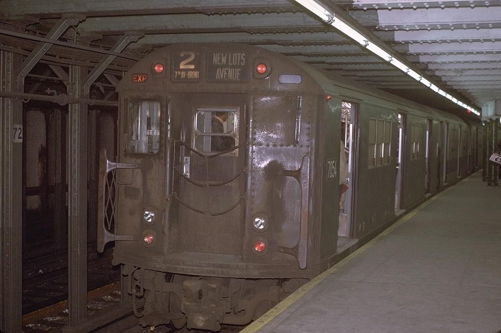 (207k, 1024x681)<br><b>Country:</b> United States<br><b>City:</b> New York<br><b>System:</b> New York City Transit<br><b>Line:</b> IRT West Side Line<br><b>Location:</b> 72nd Street <br><b>Route:</b> 2<br><b>Car:</b> R-21 (St. Louis, 1956-57) 7054 <br><b>Photo by:</b> Joe Testagrose<br><b>Date:</b> 1/2/1971<br><b>Viewed (this week/total):</b> 0 / 3744