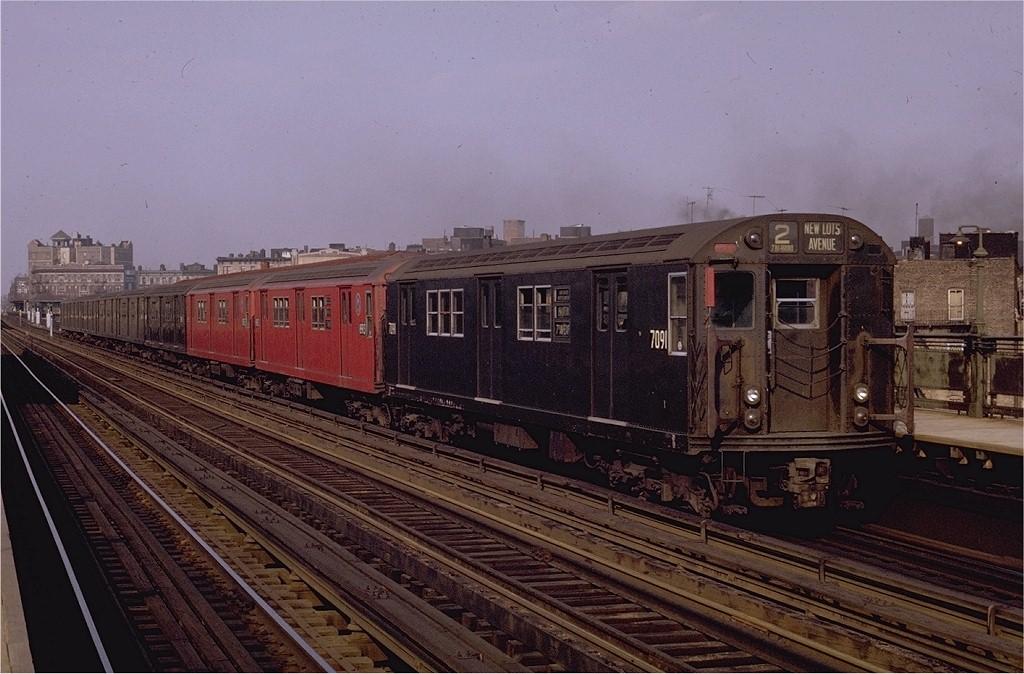 (196k, 1024x674)<br><b>Country:</b> United States<br><b>City:</b> New York<br><b>System:</b> New York City Transit<br><b>Line:</b> IRT White Plains Road Line<br><b>Location:</b> Intervale Avenue <br><b>Route:</b> 2<br><b>Car:</b> R-21 (St. Louis, 1956-57) 7091 <br><b>Photo by:</b> Joe Testagrose<br><b>Date:</b> 5/9/1970<br><b>Viewed (this week/total):</b> 0 / 2983