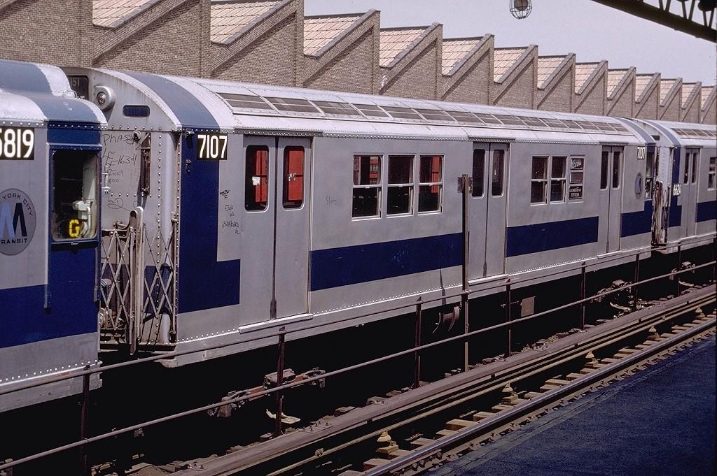 (256k, 1024x681)<br><b>Country:</b> United States<br><b>City:</b> New York<br><b>System:</b> New York City Transit<br><b>Location:</b> East 180th Street Yard<br><b>Car:</b> R-21 (St. Louis, 1956-57) 7107 <br><b>Photo by:</b> Joe Testagrose<br><b>Date:</b> 5/6/1972<br><b>Viewed (this week/total):</b> 3 / 2916