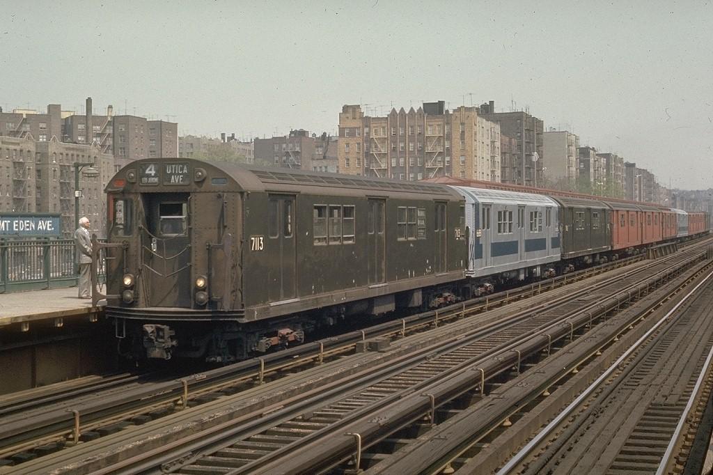 (221k, 1024x682)<br><b>Country:</b> United States<br><b>City:</b> New York<br><b>System:</b> New York City Transit<br><b>Line:</b> IRT Woodlawn Line<br><b>Location:</b> Mt. Eden Avenue <br><b>Route:</b> 4<br><b>Car:</b> R-21 (St. Louis, 1956-57) 7113 <br><b>Photo by:</b> Joe Testagrose<br><b>Date:</b> 5/9/1970<br><b>Viewed (this week/total):</b> 0 / 2950