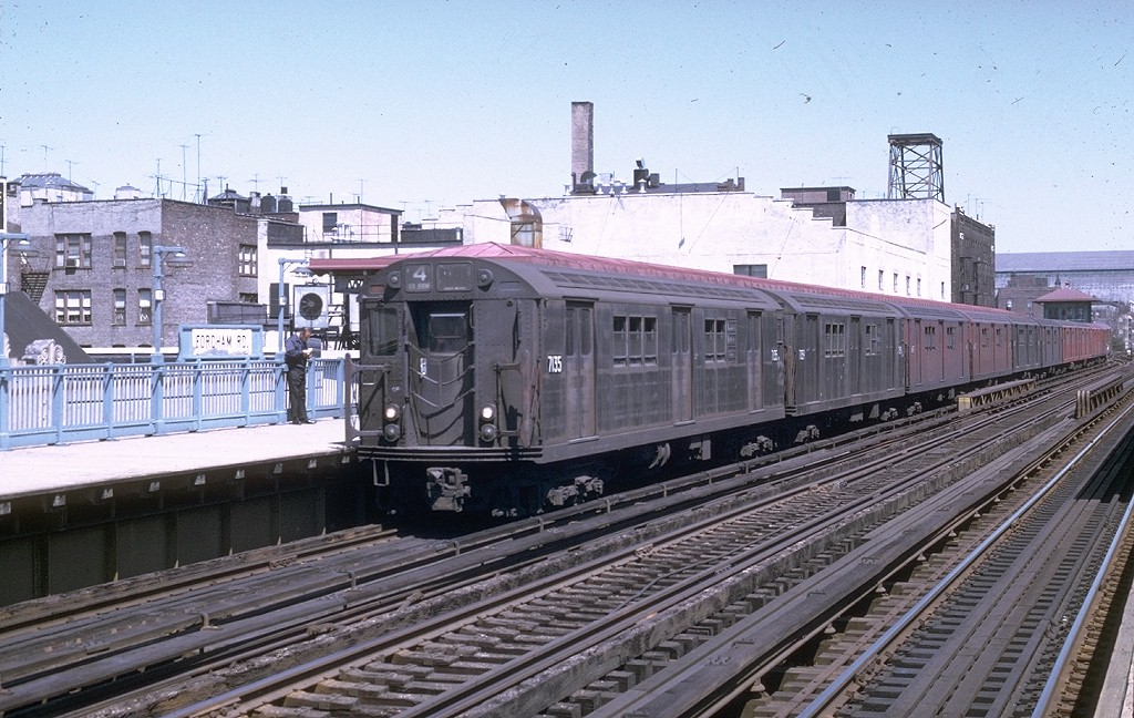 (217k, 1024x648)<br><b>Country:</b> United States<br><b>City:</b> New York<br><b>System:</b> New York City Transit<br><b>Line:</b> IRT Woodlawn Line<br><b>Location:</b> Fordham Road <br><b>Route:</b> 4<br><b>Car:</b> R-21 (St. Louis, 1956-57) 7135 <br><b>Photo by:</b> Joe Testagrose<br><b>Date:</b> 8/22/1969<br><b>Viewed (this week/total):</b> 2 / 3632